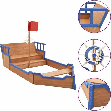 Sandbox Pirate Ship Firwood 190x94.5x136 cm