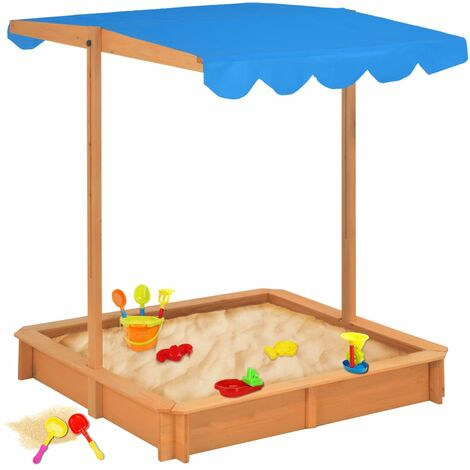 Sandbox with Adjustable Roof Fir Wood Blue UV50