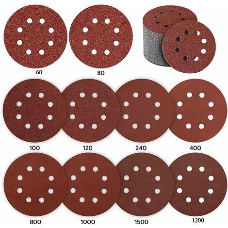 "main image of ""Sanding Disc, 80 Pieces Sanding Disc 125mm Paper Sander Abrasive Disc for Eccentric Sander 10 * P40 / P80 / P100 / P120 / P240 / P400, 5 * P800 / P1000 / P1500 / P2000 8 Holes"""