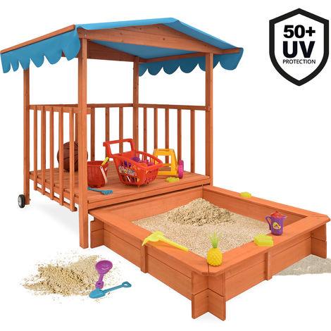 Sandkasten Deuba - mit überdachter Spielveranda und UV 50 Schutz - imprägniertes Massivholz - 130 x 130 x 143 cm