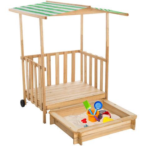 Sandkasten und Spielveranda mit Dach grün - 400914