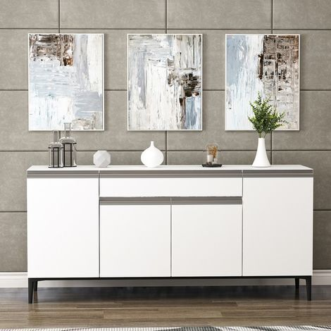 Sandor Multiuse Cabinet - with Doors, Shelves, Drawer - for Living Room, Hall - White, made in Wood, 160 x 42 x 75 cm
