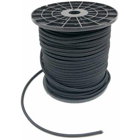 Sandow élastique en bobine D. 8 mm x L. 100 mètres haute qualité et anti UV - Noir - D-Work