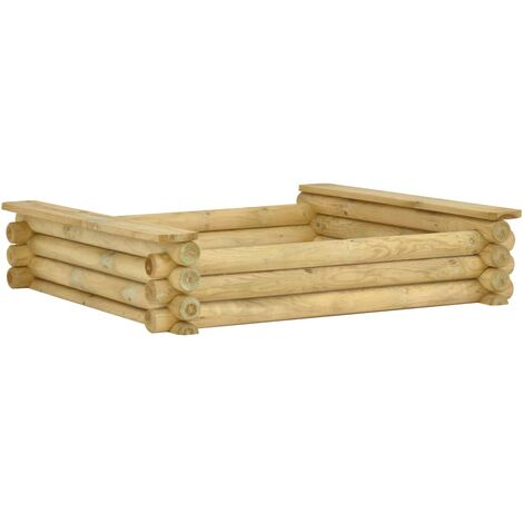 Sandpit 120x120x27 cm Impregnated pinewood - Green