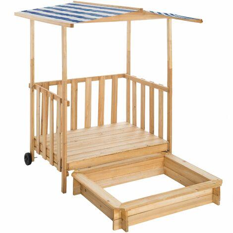 """main image of """"Sandpit with play deck and canopy Gretchen - kids sandpit, wooden sandpit, childrens sandpit"""""""