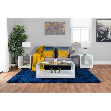 Sandro High Gloss And Glass Coffee Side Console Table Living Room Set