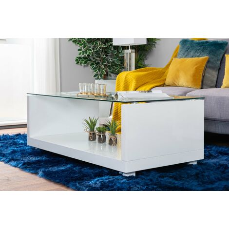 Sandro White High Gloss And Glass Coffee Table