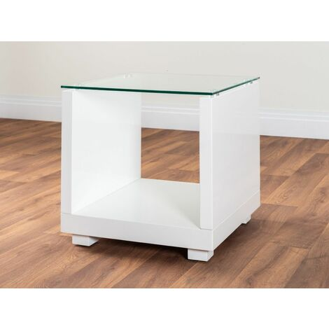 """main image of """"Sandro White High Gloss And Glass Side Table"""""""