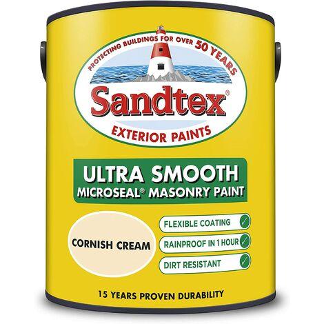 Sandtex 5L Smooth Masonry Paint Cornish Cream