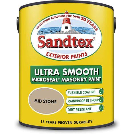 Sandtex 5L Smooth Masonry Paint Mid Stone