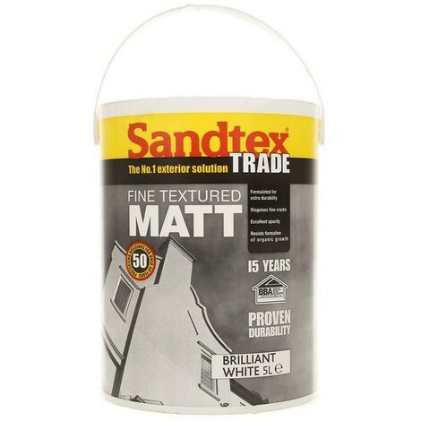 Sandtex Fine Textured Masonry Paint - Brilliant white - 5L