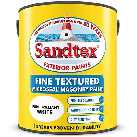 Sandtex Fine Textured Masonry Paint Matt - Brilliant White - 10L