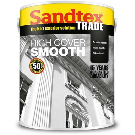 Sandtex Highcover Smooth Masonary Paint - Light Cream - 5L