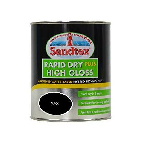 Sandtex Rapid Dry Plus High Gloss - Black - 0.75L