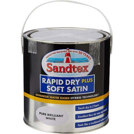 Sandtex Rapid Dry Plus Soft Satin - Pure Brilliant White - 0.75L