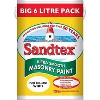 Sandtex Ultra Smooth Masonry Paint Pure Brilliant White 6L