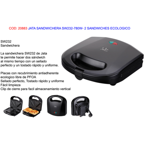 Sandwichera doble 780W (Jata SW232)