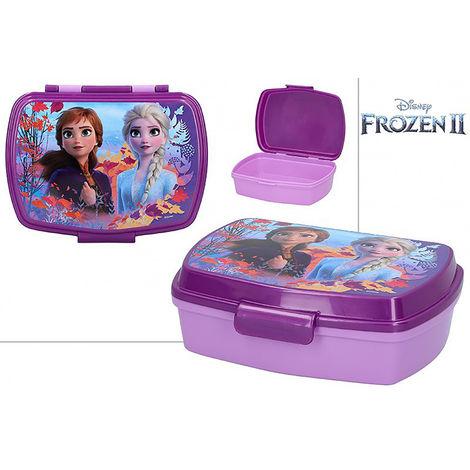 Sandwichera Infantil de Plástico Duro, Reutilizable para Niños de Frozen II. Productos Disney 17,5x13,5x5,5 cm