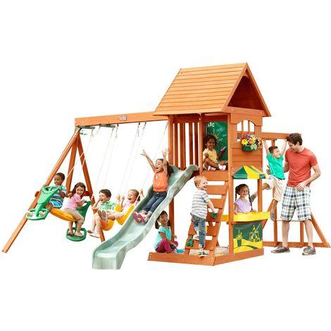 SandyCove Climbing Frame: Slide, Swings, 2-Child Glider, Monkey Bar