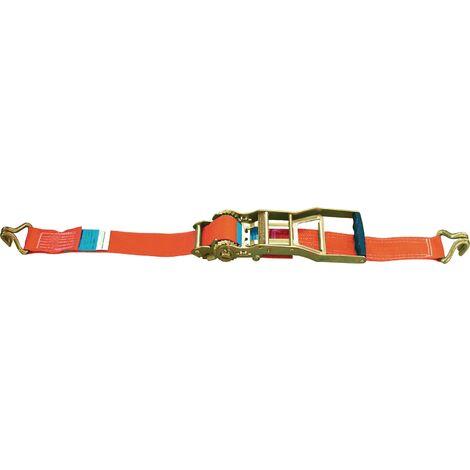 Sangle d'amarrage DIN EN 12195-2 Longueur 10 m Largeur 50 mm avec rochet à levier long + crochet poin LC U 5000 daN