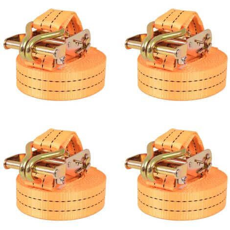 Sangle d'arrimage à cliquet 4 pcs 1 tonne 6 m x 38 mm Orange