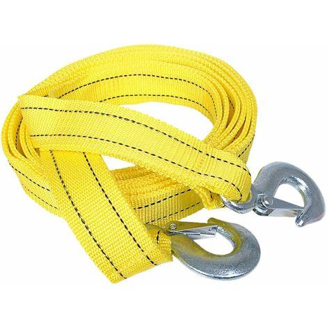 Sangle de remorquage robuste avec crochets de sécurité, 4,3 cm x 4 m en polyester 5 tonnes, corde de traction Jaune