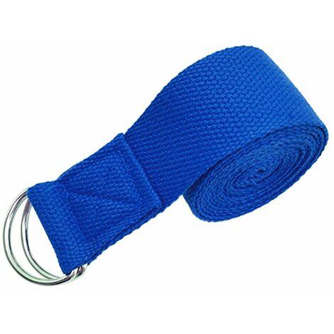 Sangle Extensible De Yoga Reglable, Avec Boucle En D, Bleu
