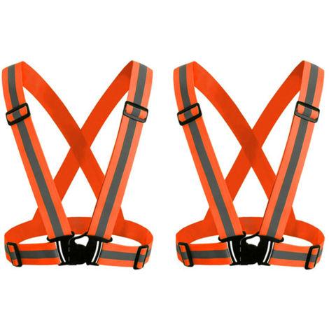Sangle Reflechissante, Gilet Ajustable Sangle Elastique Reflechissante, Orange Fluorescent, 2Pcs