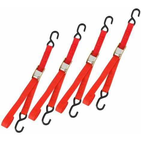 Sangle tendeur rapide 2 crochets  4pcs - Rouge