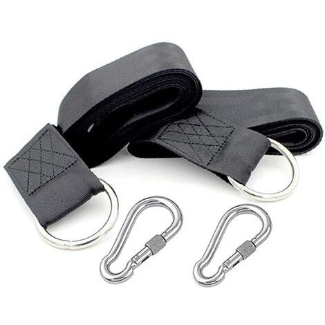 Sangles de suspension pour balançoire d'arbre, balançoires en corde pour arbre, kit de suspension avec mousquetons de sécurité, terylene, convient à toutes les balançoires et hamacs, 5cm*1.5m.