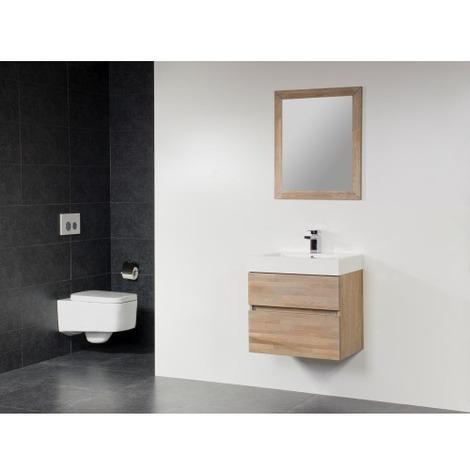 Saniclass Natural Wood Meuble salle de bain avec miroir 60cm suspendu Grey  Wash avec vasque Blanc 1 trou pour robinetterie