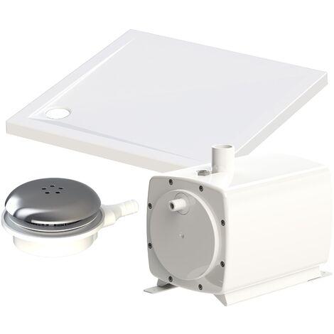 SANIFLOOR + Tray : Pompe à gauche + receveur 90 x 90 cm + bonde - SFA