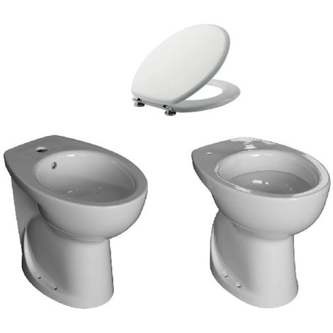 Sanitari alti per anziani disabili h 47 cm vaso wc + bidet + sedile offerta