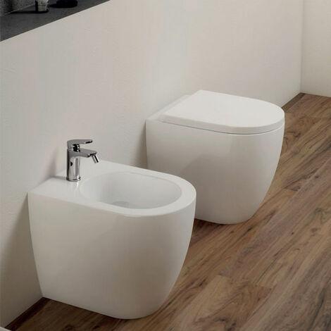 "main image of ""Sanitari Azzurra Comoda filo muro a terra wc + bidet e sedile soft-close in ceramica"""