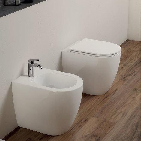 Sanitari senza brida Filo Muro Ceramica Azzurra Comoda Design Moderno -Soft Close