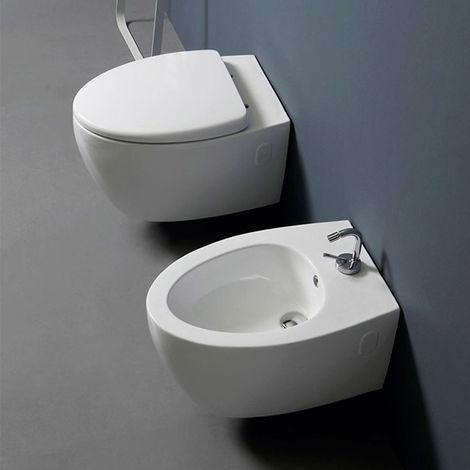 Sanitari Sospesi Nero Ceramica.Sanitari Sospesi Design Moderno Vaso Bidet Sedile Soft Close Nemesi