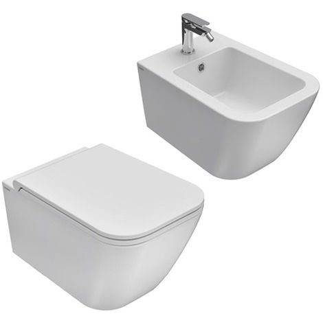 Sanitari sospesi senza brida Ceramica Globo Genesis 55x36 wc, bidet e  sedile soft close