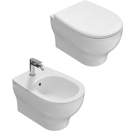 Sanitari sospesi senza brida ceramica globo Grace Wc, bidet e sedile slim  soft close