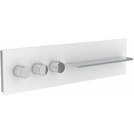 Sanitarios Keuco 56163, mampara de ducha y bañera con mezclador termostático DN 20, asas a la izquierda, color: antracita, transparente - 56163011101