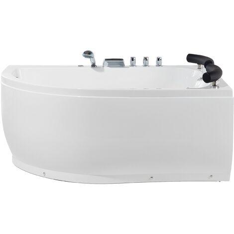 Sanitary Acrylic Corner Bathtub LED Lights Massage Left White Paradiso