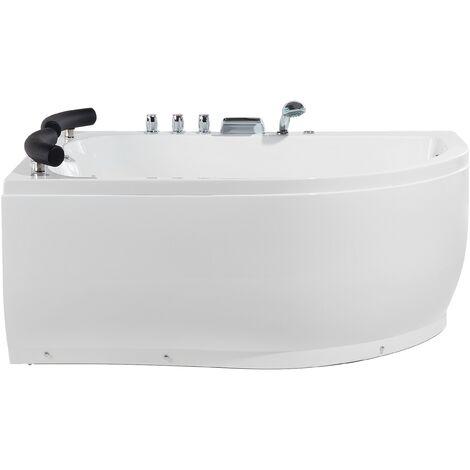 Sanitary Acrylic Corner Bathtub LED Lights Massage Right White Paradiso