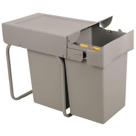 Sanitop-Wingenroth Ausziehbarer Mülleimer Küche, 2 x 14 l Einbaumülleimer, Trennsystem, 28 l Abfallsystem ausziehbar, Abfallsammler, Bodenmontage, 2-er Trennung, Kunststoff Grau, 28016 7