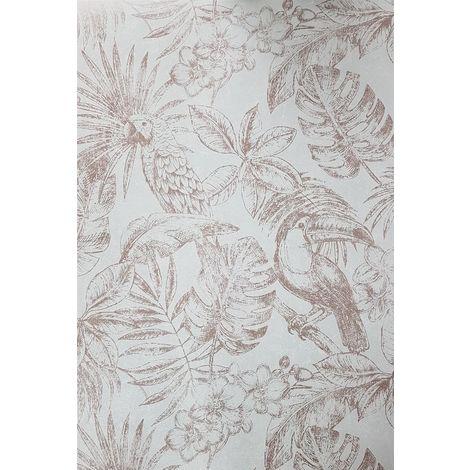 Sankuru Metallic Tropical Grey/ Rose Gold Wallpaper