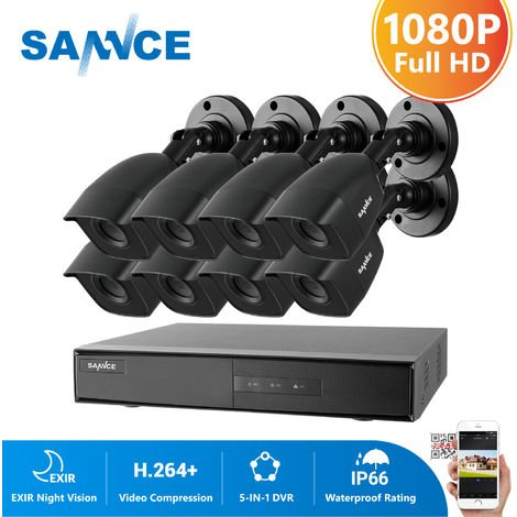 SANNCE 1080N CCTV Security Camera System with 5-in-1 1080N H.264 DVR and 8*1080P HD Security Cameras