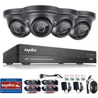 SANNCE 1080P 5-in-1 Überwachungs Kit 4CH DVR mit 4 x 200W Wetterfeste Videoüberwachungskamera