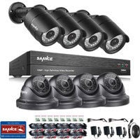 SANNCE 1080P 8 Channel Powerful 5-In-1 DVR With 4 Bullet Cameras & 4 Dome Cameras