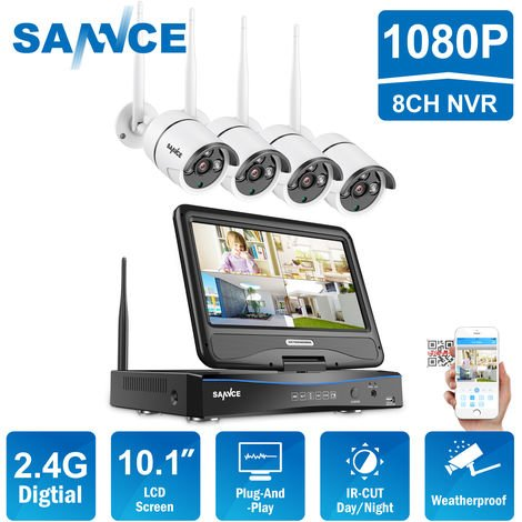 SANNCE 1080P FHD PoE Network Video Security System 8CH 5MP Surveillance NVR with H.264+ Video Compression 4*1080P HD Weatherproof Cameras with Smart IR LEDs, APP Push Alert, Remote Access
