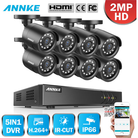 SANNCE 1080P FHD PoE Network Video Security System 8CH 5MP Surveillance NVR with H.264+ Video Compression 8*1080P HD Weatherproof Cameras with Smart IR LEDs, APP Push Alert, Remote Access