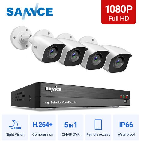 SANNCE 1080p Full HD CCTV DVR Security Camera System with 8CH 5MP Super HD DVR, 100 ft EXIR 2.0 Night Vision, Outdoor/Indoor Video Surveillance Kit 4 Cameras