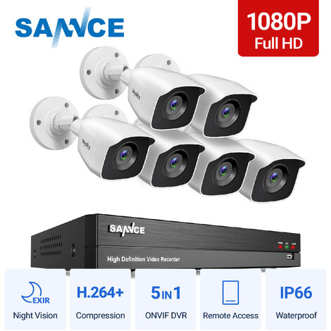 SANNCE 1080p Full HD CCTV DVR Security Camera System with 8CH 5MP Super HD DVR, 100 ft EXIR 2.0 Night Vision, Outdoor/Indoor Video Surveillance Kit 6 Cameras